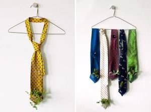"""Интересные идеи горшков для цветов: """"горшок"""" из галстуков"""