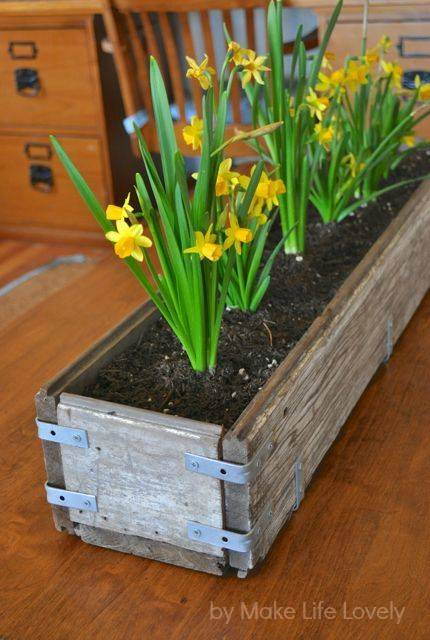 """Интересные идеи горшков для цветов: """"горшок"""" из деревянного ящике"""