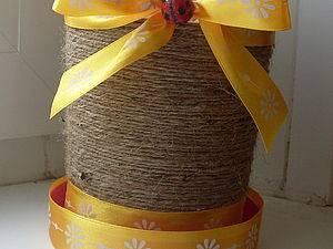 Декорирование цветочного горшка шпагатом