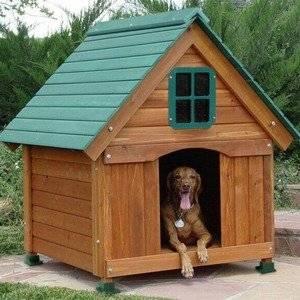 Будка для собаки смотрится из дерева